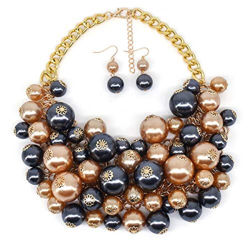 MeliMe CIOOU Womens Imitation Pearl Twisty Chunky Bib Necklace Chokers for Wedding Party -