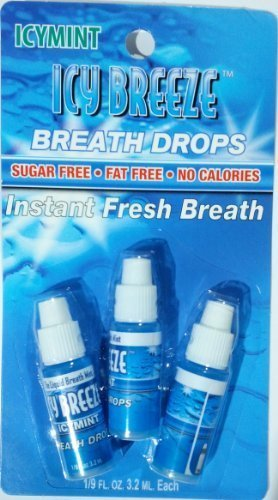 (Icy Breeze Breath Drops Instant Fresh Breath, Icymint 3.2 ml, 3pack)