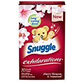 Snuggle Exhilarations Fabric Softener Dryer Sheets, Cherry Blossom and Rosewood, 70 Count