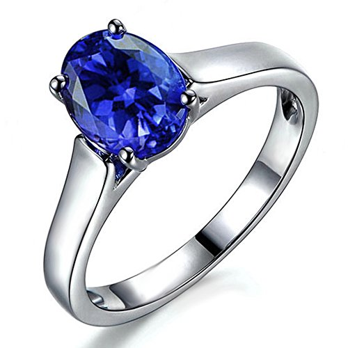 (1.37ct) Genuine Natural Blue Tanzanite Gemstone Women's White Gold 14K Wedding Engagement Promise Band Ring Set ()