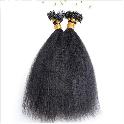 Hesperis Micro Loop Hair Extensions Brazilian Remy Virgin Hair Kinky Straight 100g Per Pack Human Hair Coarse Straight Micro Rings Hair Extensions 1g/strand (Straight Loop)
