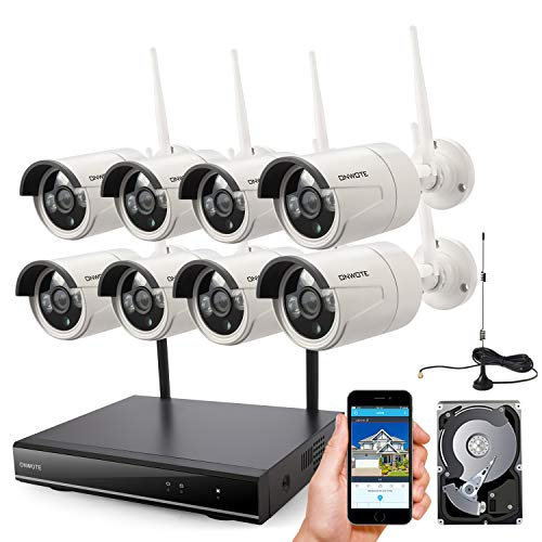 ONWOTE 1080P Full HD Wireless Security Camera System with 2TB Hard Drive, 8 Channel 1080P NVR, 8Pcs 1080P 2.0MP IP Cameras, 80ft IR Night Vision, Built-in Router, IP66 Waterproof, Wifi Booster Antenna