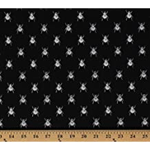Cotton Goth Bugs Insects Beetles White Bugs on Black Cotton Fabric Print by the Yard (dc5524-blac-d)