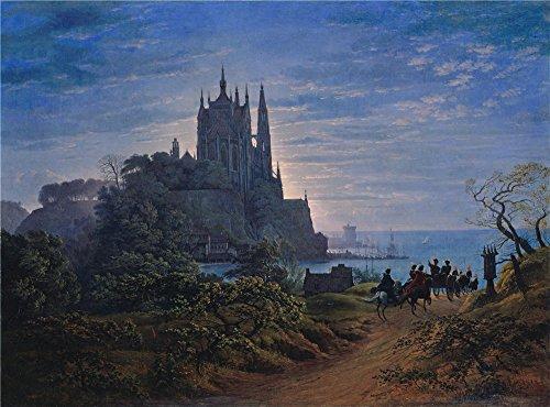 oil-painting-karl-friedrich-schinkel-gotische-kirche-auf-einem-felsen-am-meer-20-x-27-inch-51-x-69-c