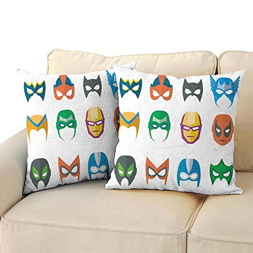 Polyester Pillowcase Superhero Hero Mask Female Male Costume Power Justice People Fashion Icons Kids Display Soft and Comfortable W 24