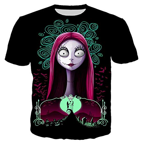PONGONE The Nightmare Before Christmas Tee Shirt Couple Shirt Sally Short Sleeve Shirt S -