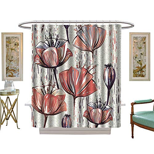 luvoluxhome Shower Curtains Waterproof Vector Tulips Texture Background can be Used for Wallpapers Satin Fabric Sets Bathroom W48 x L72 (Texture Wallpaper Satin)