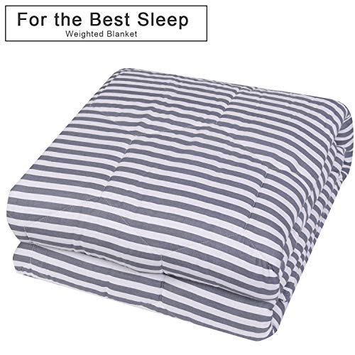 """YEMYHOM 100% Cotton Weighted Blankets Adult 20 lbs 60""""x80"""" Bed Couch Heavy Blankets Queen/King Size (Gray and White Stripes)"""