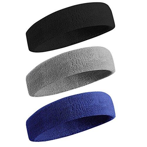 Cotton Elastic Sweatband (Sweatband Sports Headband / Wristband for Men & Women - 3PCS / 6PCS Moisture Wicking Athletic Cotton Terry Cloth Sweatband for Tennis, Basketball, Running, Gym, Working Out)