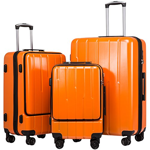 Coolife Luggage Expandable Suitcase 3 Piece Set ABS+PC TSA Lock with Computer Pocket (Orange new) (Set Luggage Expandable Orange)