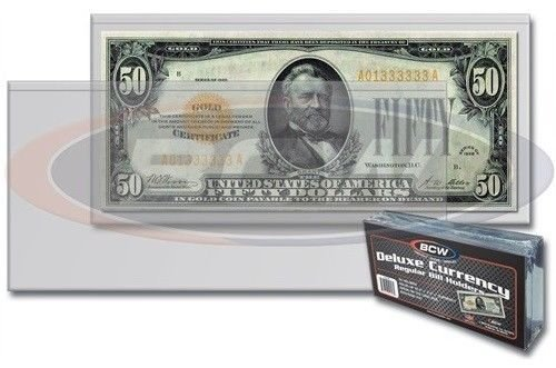 (10) Deluxe US Currency Paper Money Bill Holder Protectors for Regular Bills by BCW