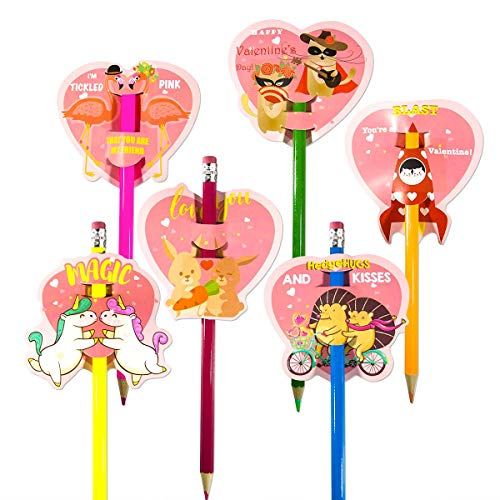 (30pcs Valentine Scratch & Sniff Pencil Toppers, Super Valentine Card Pack for Kids/Roommate/Classmates Valentine Exchange Gifts Party Favor Supplies)