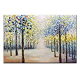 Amei Art Paintings,24x36Inch Hand-Painted Dense Forest Wall Art on Canvas Abstract Tree Oil Paintings Modern Home Decor Landscape Artwork Stretched and Framed Ready to Hang for Living Room