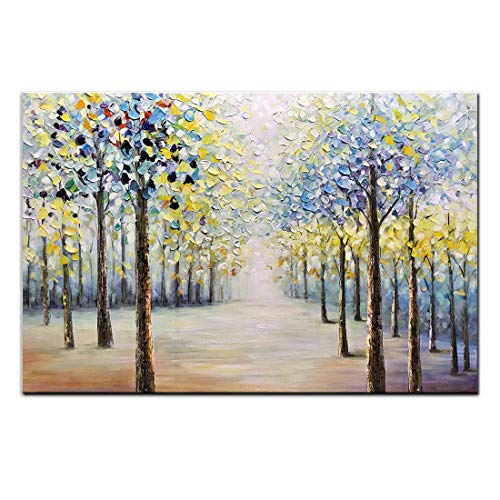 (Amei Art Paintings,24x36Inch Hand-Painted Dense Forest Wall Art on Canvas Abstract Tree Oil Paintings Modern Home Decor Landscape Artwork Stretched and Framed Ready to Hang for Living Room )