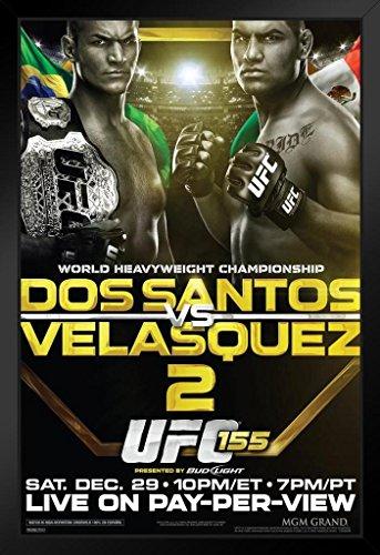 Pyramid America Official UFC 155 Junior Dos Santos vs Cain Velasquez 2 Sports Framed Poster 14x20 inch (Cain Velasquez Vs Junior Dos Santos 2)