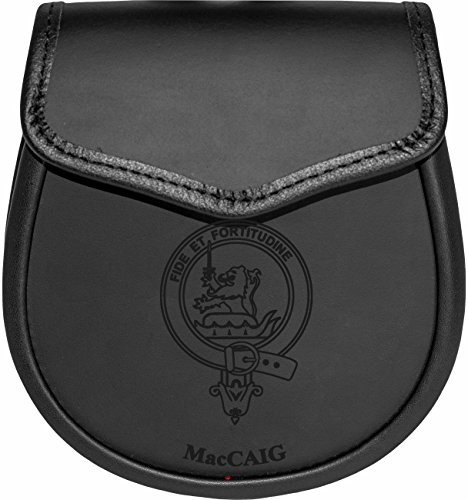 MacCaig Leather Day Sporran Scottish Clan Crest