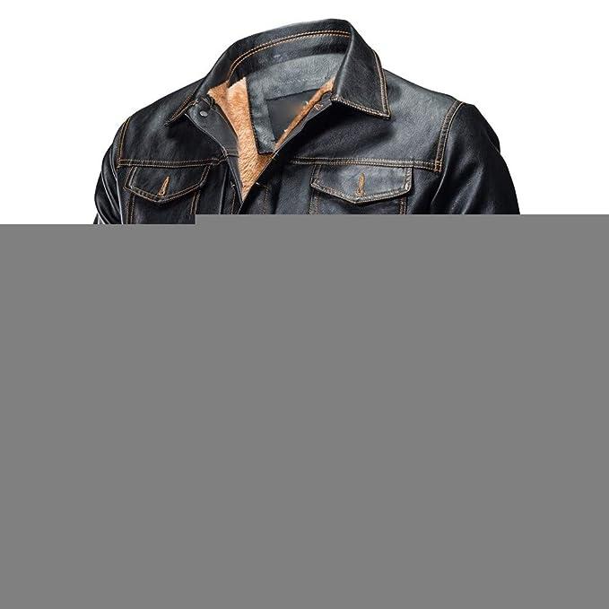 Chaqueta - para Hombre, Beikoard Hombres Otoño Invierno Chaqueta De Cuero Biker Motocicleta Botón Outwear Capa Blusa Superior, Abrigo De Cuero Acolchado con ...
