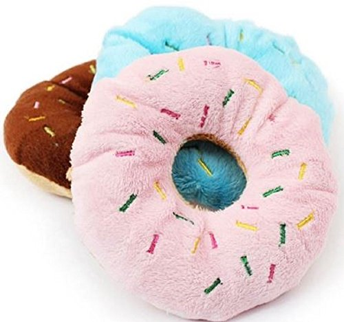 Assorted Dog Donuts Plush Squeaking Chew Toy 2 Packs ,Generic ()