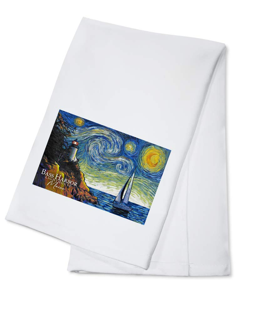 Maine - Bass Harbor Lighthouse - Starry Night 95834 (100% Cotton Kitchen Towel)