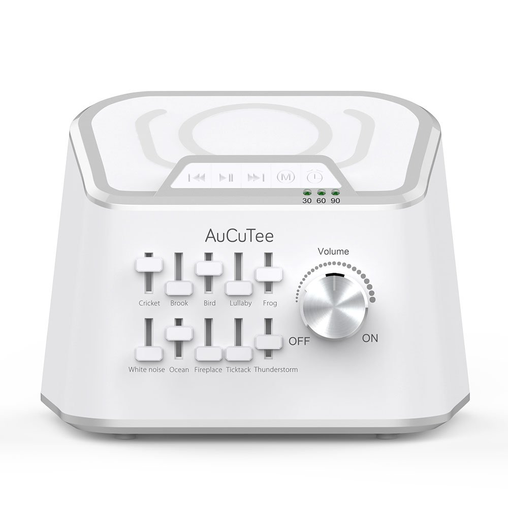 AuCuTee White Noise Sleep Machine with 10 Natural Sounds Mixing Or Individually Played, Standard Qi Wireless Charger & Bluetooth Speaker