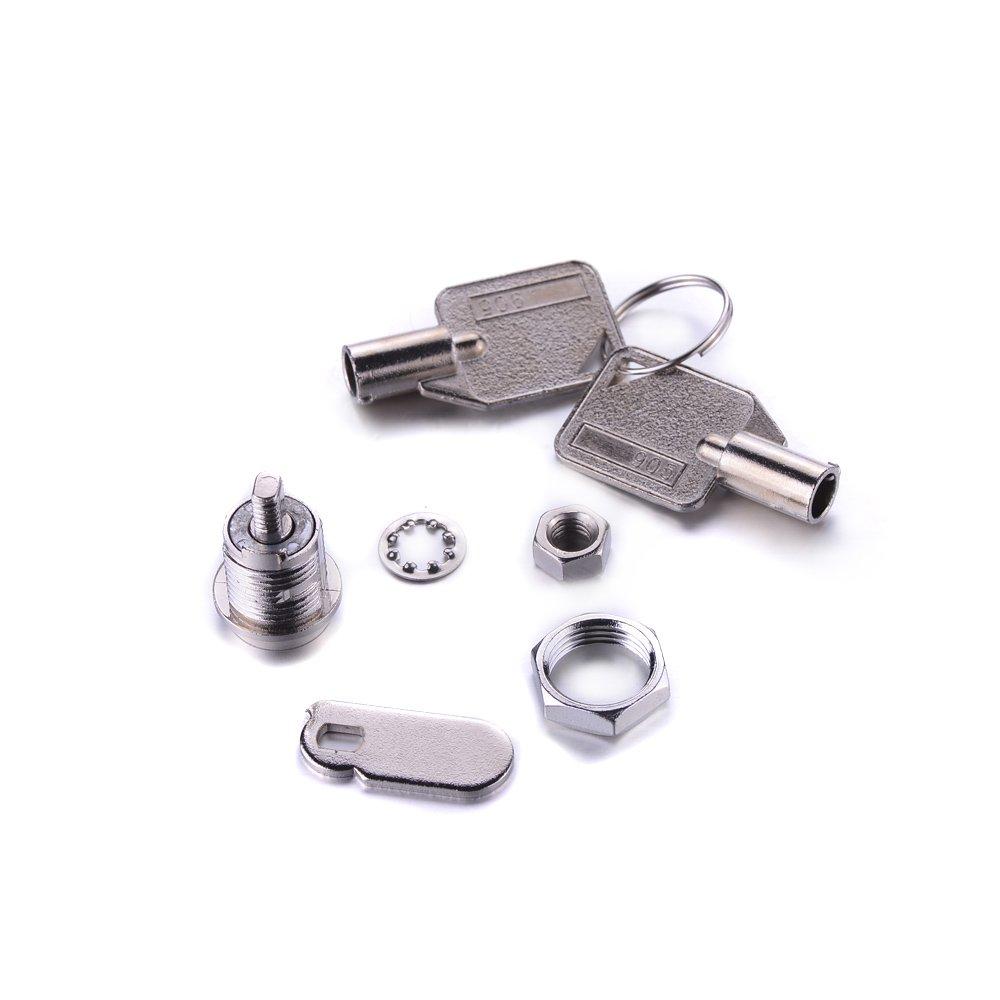 Atoplee 6/pcs argent/é Bo/îte aux lettres Closet Door cylindrique Cam Lock avec 12/Touches