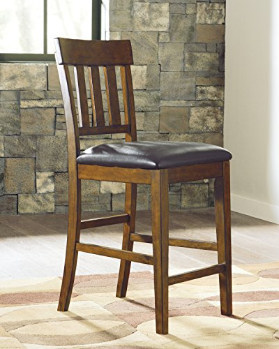 Ralerrine Medium Brown Formal Dining Upholstered Barstool, Set of 2