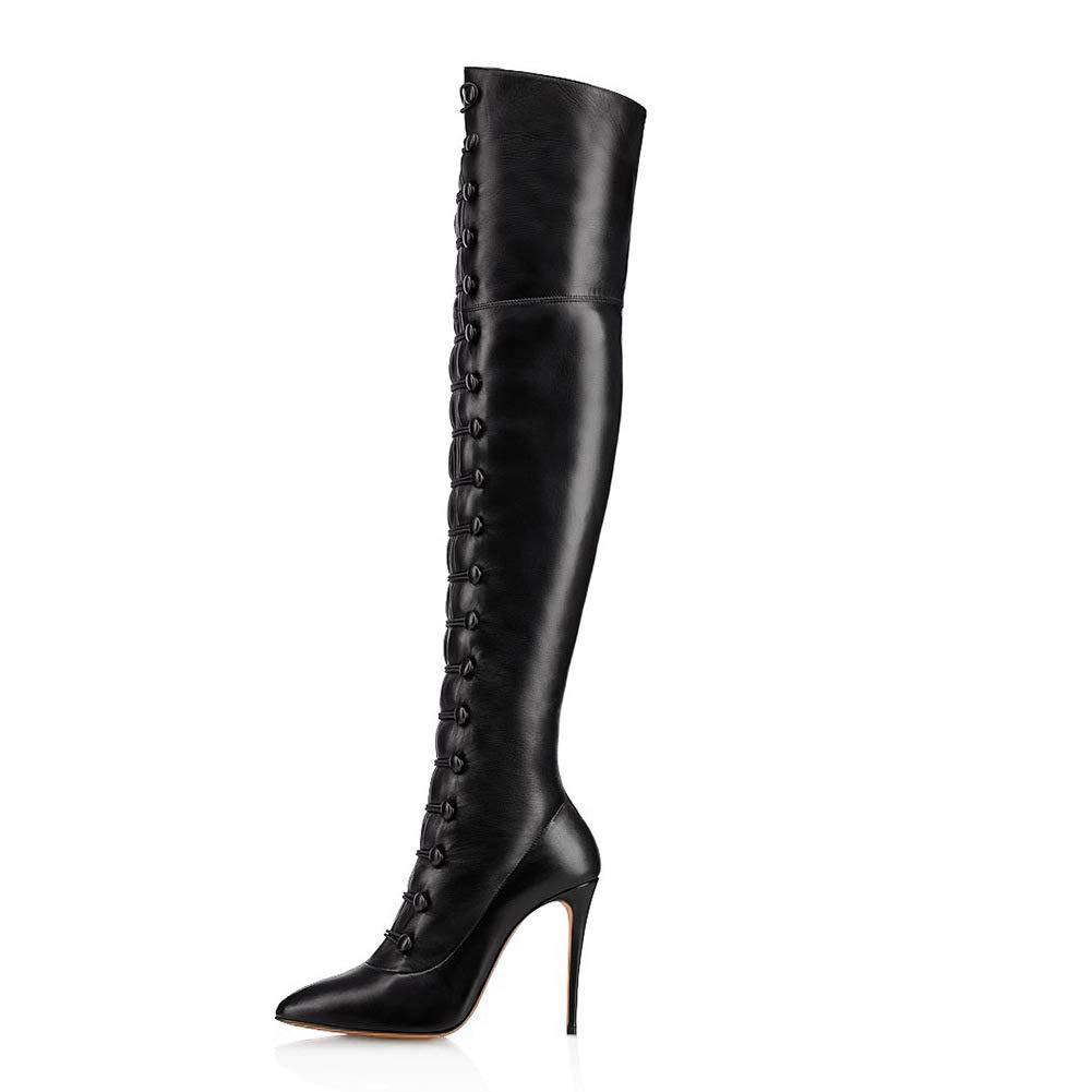 XLH Schn&uu ;rStiefel High Heel Sexy Schuhe Feiner Heel Schlank F&uu ;r Abend-Partei-B&uu ;ro-Frauen-Stiefel, Schwarz