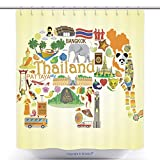 Cool Shower Curtains Thai Elephant. Set Vector Icons And Symbols Of Thailand_66997914 Polyester Bathroom Shower Curtain Set With Hooks