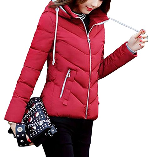 amp;S Winter Women's amp;W Sleeve M Puffer Red Padded Coat Down Long Shorts d4RqwBw