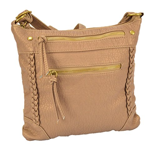 Soft Vintage Faux Leather Zippered Messenger Crossbody Side Bag Purse, Long Strap (Metallic Camel)