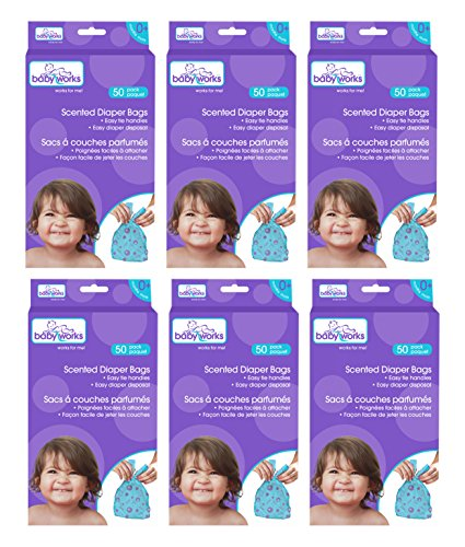 Baby Works Disposable Scented Diaper Bags 300pk (6 boxes of 50pk)