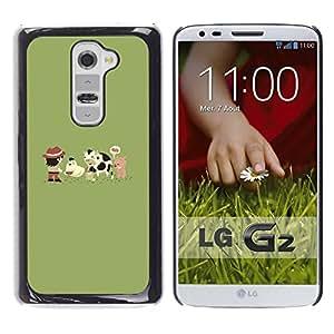 LG G2 - Metal de aluminio y de plástico duro Caja del teléfono - Negro - Funny Cute Farm Animals