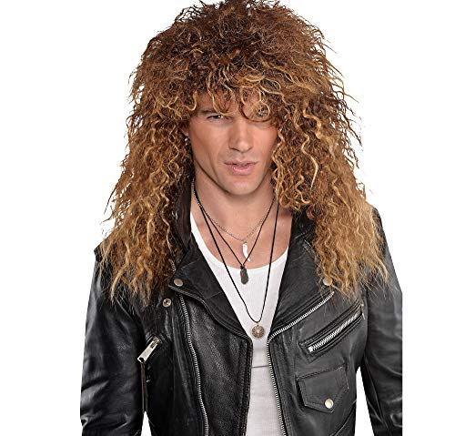 AMSCAN Brown Glam Rocker Wig Halloween Costume Accessories, One -
