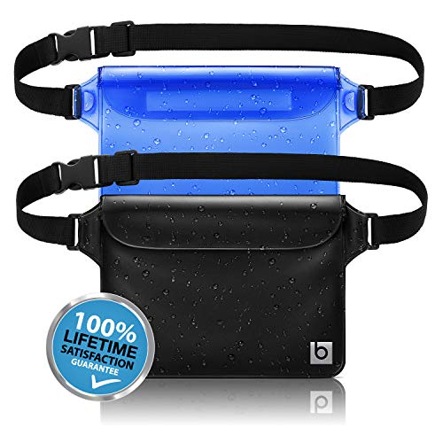 blue sky BASICS Waterproof Pouch with Waist Strap (2 Pack) | Best Way to Keep Your Phone and Valuables Safe and Dry | Perfect for Boating Swimming Snorkeling Kayaking Beach Pool Water Parks
