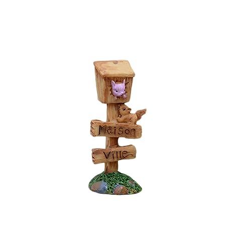 Outflower Miniatura con Buzón, Adornos para Jardín de Hadas, Decoración de Maceta, Paisaje