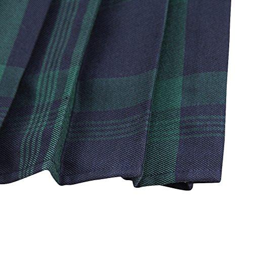 327d791b04 Urban CoCo Women's Elastic Waist Tartan Pleated School Skirt (Medium,  Series 1 Green)