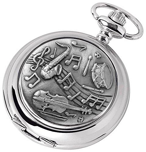 (Woodford Mens Musical Chrome Plated Full Hunter Quartz Pocket Watch - Silver)