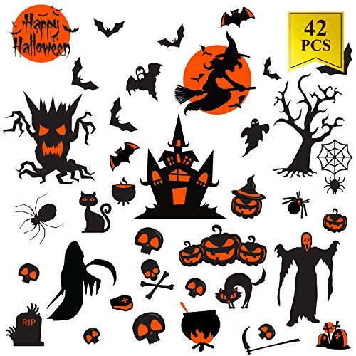 42PCs Halloween Decals Window Clings for Halloween Decorations Happy Halloween Window Decal Good for Party -