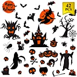 42PCs Halloween Decals Window Clings for Halloween Decorations Happy Halloween Window Decal Good for Party Decorations