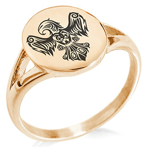 (Tioneer Rose Gold Plated Stainless Steel Aztec Power Strength Courage Rune Symbol Minimalist Oval Top Polished Statement Ring, Size 5)