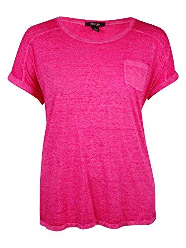 Style & Co. Womens Plus Burnout Crew Neck T-Shirt Pink 1X