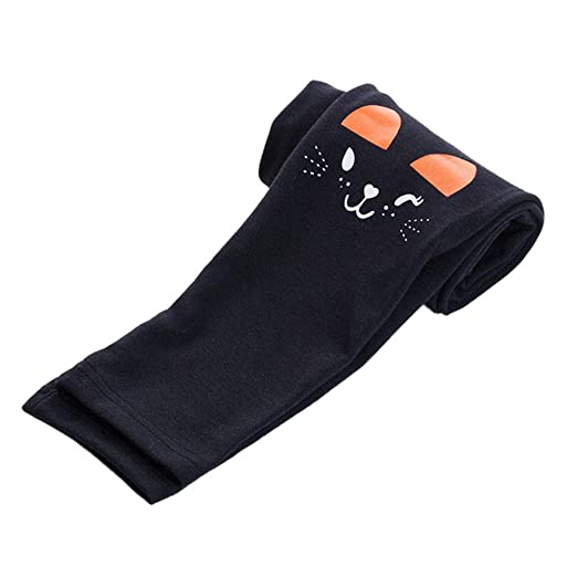 b3081ba50 Image Unavailable. Image not available for. Color: Weixinbuy Kid Baby  Girl's Cat Print Stretch Slim Leggings Cropped Pants Tights Trousers