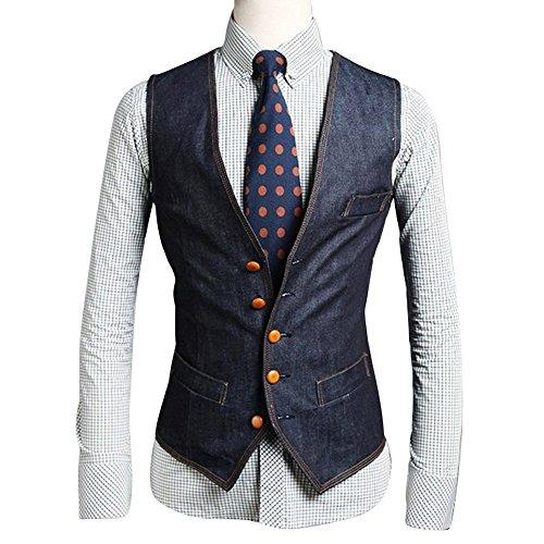 Your Gallery Men's Designer Stylish Casual Denim Skinny Dress Vest Premium Large