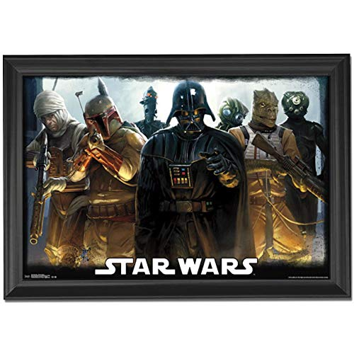 Star Wars Darth Vader & Empire Wall Art Decor Framed Print | 24x36 Premium (Canvas/Painting Like) Textured Poster | Dark Side Villains, Boba Fett, A Jedi Movie Trilogy | Gifts for Guys & Girls Bedroom