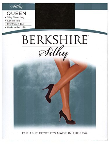 Berkshire Women's Plus-Size Queen Silky Sheer Control Top Pantyhose 4489, Off Black, - Stretch Berkshire Pantyhose