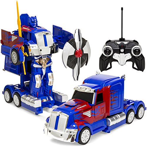 (Best Choice Products 27MHz Transforming Semi-Truck Robot RC Toy w/ Dance Modes, Music, Sword, Shield - Blue/Red)