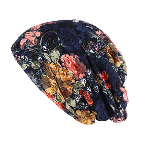 SUKEQ Womens Beanie Chemo Hat Cap, Cotton Lace Baggy Slouchy Turban Headwear Infinity Scarf Bandana for Cancer (Blue)
