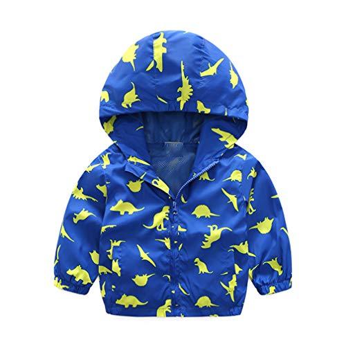 EISHOW Kids Baby Boys Long Sleeve Dinosaur Fall Coat Outwear Infant Toddler Hoodie Hooded Zip-up Thin Jacket Clothes Sweatshirt (Blue, 6-12 Months) Boy Pink Infant Sweatshirt