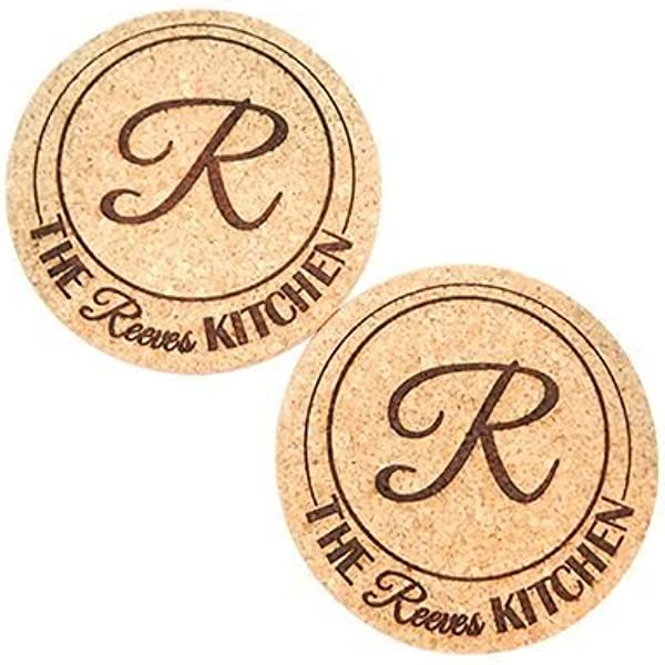 Kitchen Gift Monogrammed Cork Trivet Monogrammed Wedding Gift Engraved Trivet 7.25 inch Personalized Trivet Personalized Wedding Gift