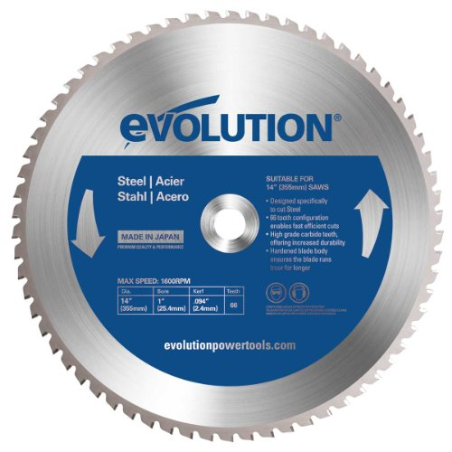 14 Inch 100 Tooth - Evolution Power Tools 14BLADEST Steel Cutting Saw Blade, 14-Inch x 66-Tooth